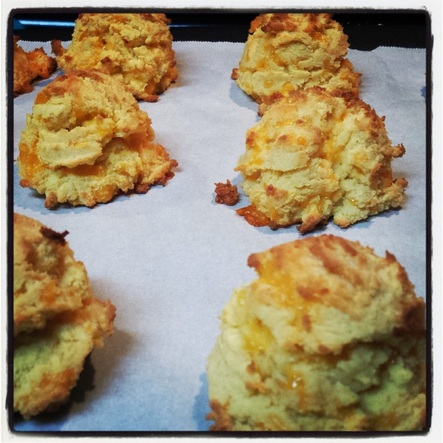 Wheat-free coconut flour cheddar drop biscuits