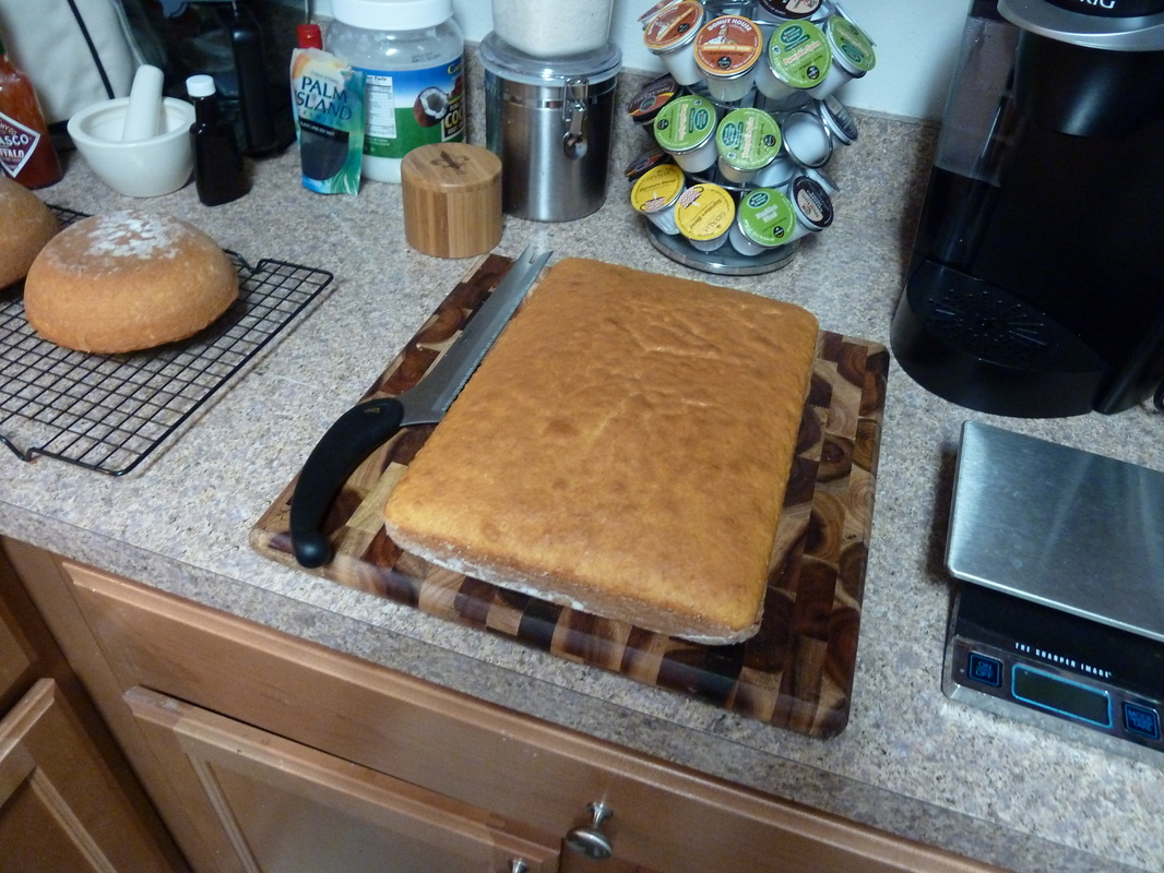 Cooled cake on cutting board